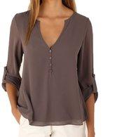 Zerorun Women Long Sleeve Deep V Neck Shirt Casual Chiffon Blouse