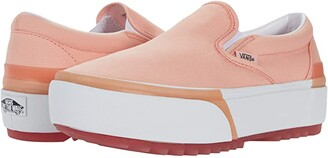 Vans Classic Slip-On Stacked ((Pastel) Peach Pearl/True White) Athletic Shoes