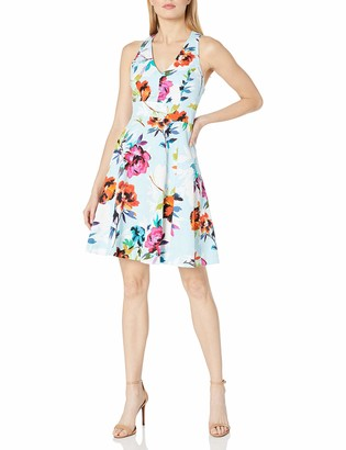 Adrianna Papell Women's Rose Printed Jacquard Fit N Flare
