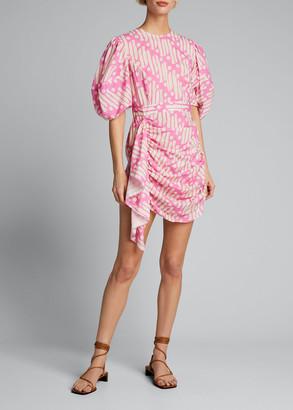 Rhode Resort Pia Draped Blouson-Sleeve Dress