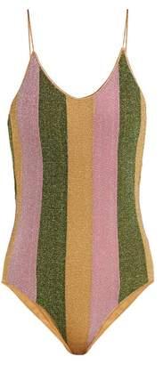 Oseree Lumiere Striped Metallic Swimsuit - Womens - Pink Multi