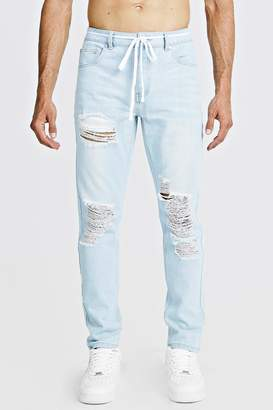 boohoo Slim Fit Distressed Jean With Shoelace Belt