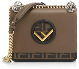 Fendi Small Kan I F Leather Shoulder Bag