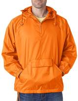 UltraClub Men's 1/4 Zip Hooded Pullover Pack Away Jacket, X Large
