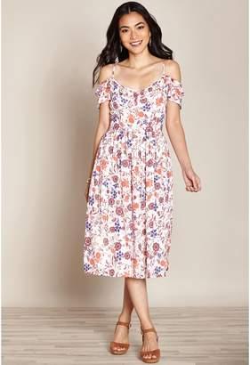Yumi Cold Shoulder Floral Print Midi Dress