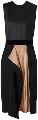 Burberry Panel Detail Silk And Wool Shift Dress