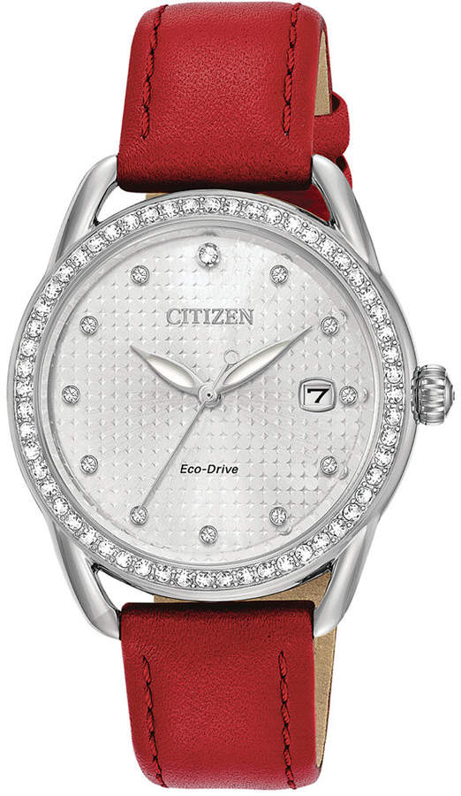 Citizen Drive from Eco-Drive Women's Red Leather Strap Watch 37mm