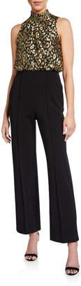 Donna Morgan Metallic Blouson Crepe Pant Jumpsuit