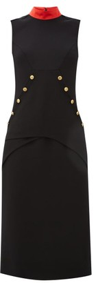 Givenchy Button-embellished Wool-crepe Dress - Black Red
