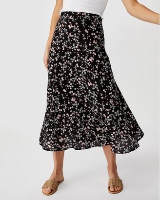 Cotton On Botanical Asymmetric Midi Skirt