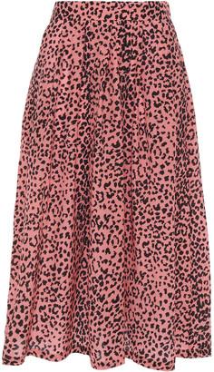 Être Cécile Amelie Pleated Leopard-print Silk Crepe De Chine Midi Skirt