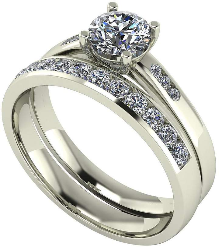 Moissanite 9ct Gold 1ct total Round Brilliant Centre bridal Set