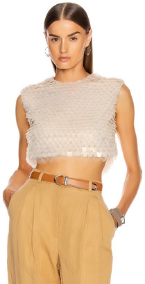 Alberta Ferretti Sequin Sleeveless Top in Ivory | FWRD