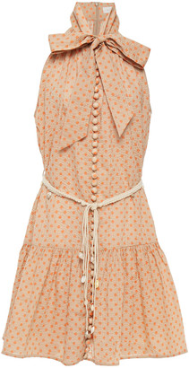 Zimmermann Peggy Pussy-bow Polka-dot Cotton-seersucker Mini Dress