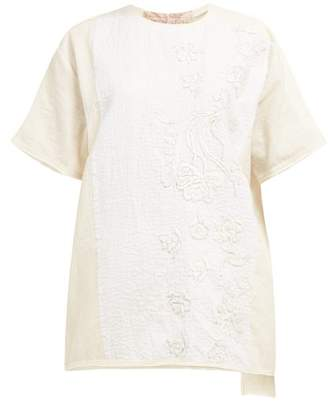 By Walid Tatum Floral Embroidered Cotton T Shirt - Womens - Cream