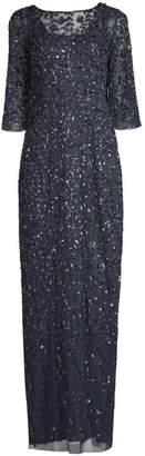 Aidan Mattox Embellished Three-Quarter-Sleeve Gown