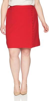 Nine West Women's Size Plus Textured Crepe A-LINE WRAP Skirt Button Detail