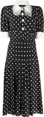 Alessandra Rich Polka-Dot Fringe Collar Dress