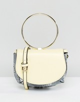 Asos Ring Detail Snake Saddle Cross Body Bag