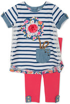 Rare Editions Baby Girls' 2-Pc. Striped Top & Leggings Set