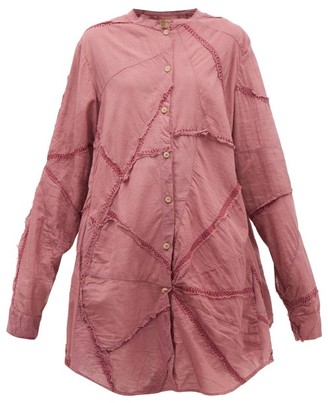 By Walid Ally Triangle-panel Cotton Shirtdress - Womens - Light Pink