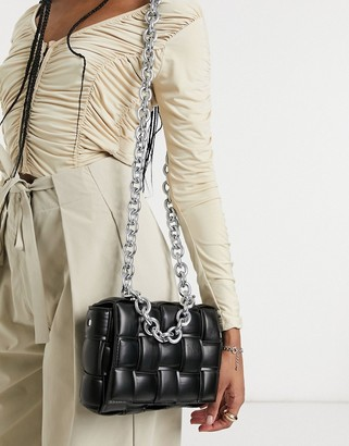 Ego x Molly Mae cross-body bag in black quilt with chain handle