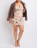 Charlotte Russe Plus Size Floral Notched Bodycon Dress