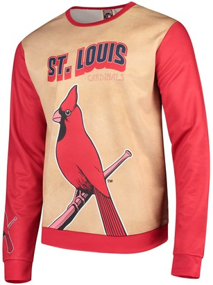 Men's Tan/Red St. Louis Cardinals Sublimated Crew Neck Sweater