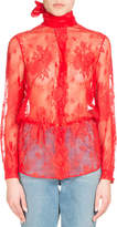 Balenciaga Lace Scarf-Tie Blouse, Red