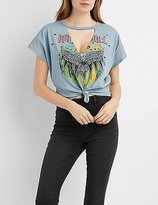 Charlotte Russe Choker Neck Rock & Roll Graphic Tee