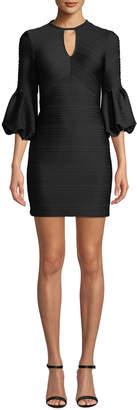 Shoshanna Crewneck Balloon-Sleeve Stretch-Knit Jacquard Mini Dress