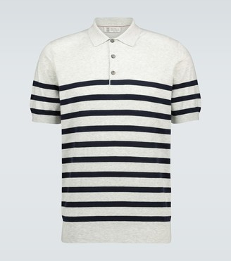 Brunello Cucinelli Striped cotton polo shirt