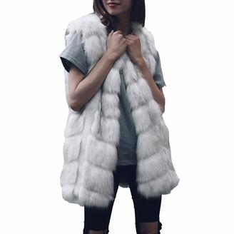 Lazzboy Womens Coat Gilet Jacket Warm Faux Fur Block Fluffy Solid Fashion Outerwear Female Ladies Oversized Plus Size UK Size 8-18(XL