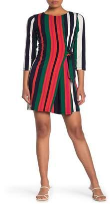 London Times Long Sleeve Tie Side Multi-Stripe Shift Dress (Petite)