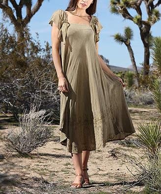 Ananda's Collection Women's Maxi Dresses khaki - Khaki Ruffle Sleeve Midi Dress - Women