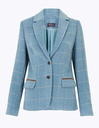 Marks and Spencer Wool Blend Checked Single Breasted Blazer