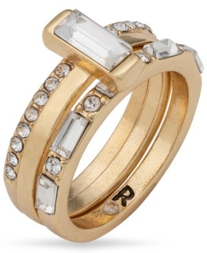 Rachel Roy Gold-Tone Crystal Attached Trio-Ring
