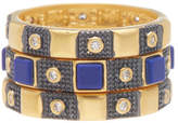 Freida Rothman 14K Gold Plated Sterling Silver CZ Lapis Rings - Set of 3 - Size 7