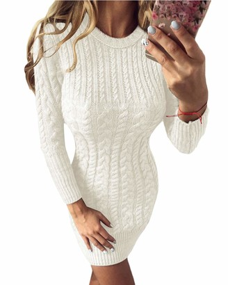 Onsoyours Womens Turtle Neck Long Sleeve Bodycon Cable Twist Knitted Jumper Knitwear Sweater Dress White M