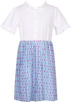 Richie House Girls' Casual Dresses White/Sky - White & Sky Polka Dot Dress - Girls