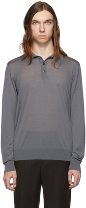 Giorgio Armani Grey Solid Long Sleeve Polo