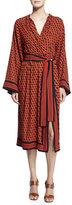 Michael Kors Hexagon-Print Silk Wrap Dress, Coral/Multi