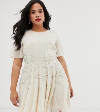 Asos DESIGN Curve pretty embellished smock mini dress