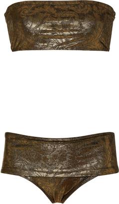 MARIE FRANCE VAN DAMME Metallic Jacquard Bikini Set