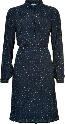 Nümph Navy Dot Dress - XS . | viscose | navy | yellow dot - Navy