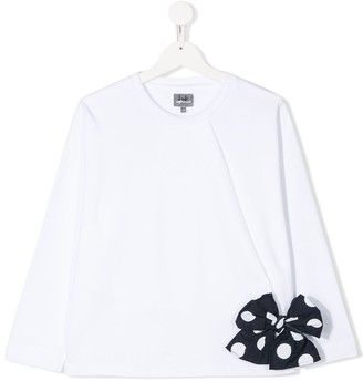 Il Gufo TEEN bow-detail long sleeved top