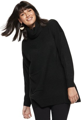 Nine West Women's Pocket Turtleneck Oversized Sweater