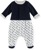 Petit Bateau Boat-Print Sleeveless Footie Pajamas w/ Cardigan, Size Newborn-6M