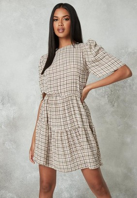 Missguided Stone Gingham Puff Sleeve Smock Dress