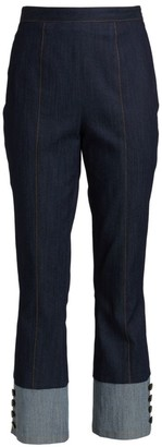 Cinq à Sept Sheena Button-Cuff Cropped Jeans